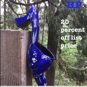 Shoes - Bamboo print on cobalt blue mule/sandals,HP